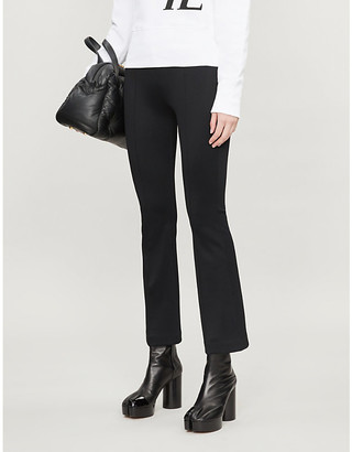Helmut Lang Cropped mid-rise flared jersey trousers
