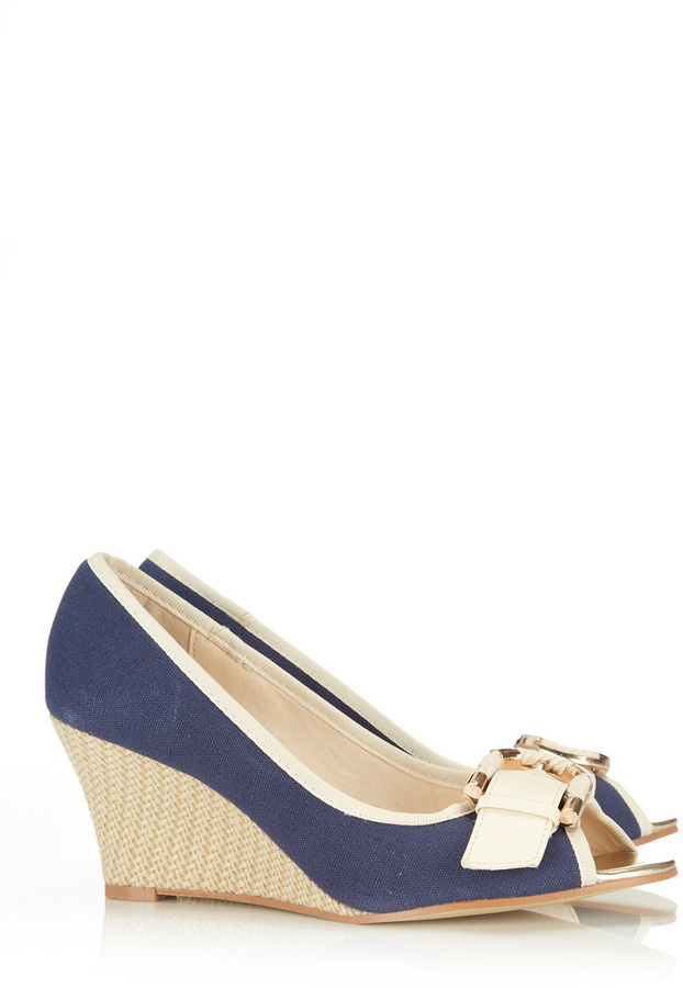 Wallis Navy Peep Toe Shoe