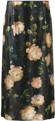Vince Painted Rose silk midi skirt