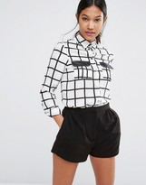 Lipsy Michelle Keegan Loves Mono Check Pocket Blouse