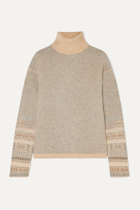 Loro Piana Fair Isle Cashmere Turtleneck Sweater - Light gray