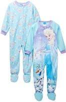 AME Frozen Elsa & Olaf Fleece Footed Blanket Sleepers - Set of 2 (Toddler Girls)
