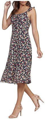 Cupcakes And Cashmere Hailey - Neon Blooms Ditsy Poly Twill Midi Dress with Ruffle Detail (Ink) Women's Clothing