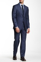 Hickey Freeman Classic Fit Navy Plaid Wool Suit