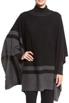 Eileen Fisher Striped Cashmere Bateau-Neck Poncho, Black