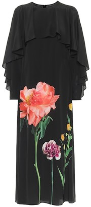 Valentino Floral silk crepe de chine midi dress
