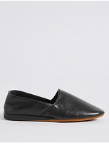 M&S Collection Leather Full Cut Slippers with ThinsulateTM