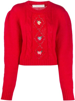 Alessandra Rich Cropped Floral-Embroidered Jumper