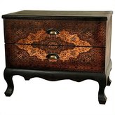 Oriental Furniture 23.5-Inch Olde-Worlde Euro Design Two Drawer End Table Cabinet