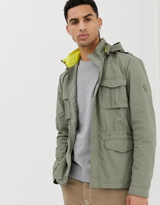 Solid utility hooded jacket with contrast collar in khaki-Green