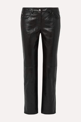 Michael Kors Paneled Leather Straight-leg Pants - Black