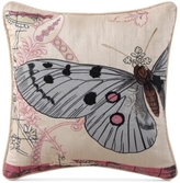 "Tracy Porter Tilda Embroidered Butterfly Faux Silk 16"" Square Decorative Pillow"