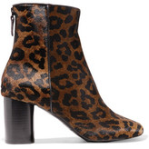 Sandro Leopard-Print Calf Hair Ankle Boots
