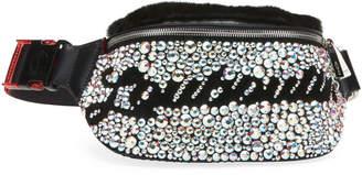 Christian Louboutin Marie Jane Maxi Crystal-Studded Suede & Faux-Fur Belt Bag