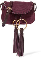 See by Chloe Polly Leather-trimmed Tasseled Suede Shoulder Bag - Plum