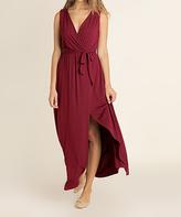 Blu Heaven Dark Wine Slit-Skirt Sleeveless Surplice Dress