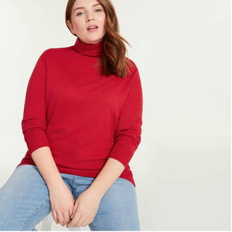Joe Fresh Women+ Cashmere-Blend Turtleneck Sweater, Red (Size 1X)