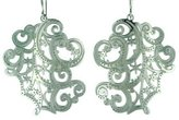 Pavel Steel Lace Snowflake and Swirl Design Swirl Shaped Stainless Steel Dangle Earring