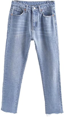 Goodnight Macaroon 'Lucy' Premium Wash High Waisted Straight Leg Cropped Jeans Raw Hem (2 Colors)