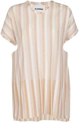 Jil Sander White And Brown Cotton Dress