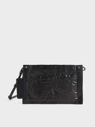 Charles & Keith Crumpled-Effect Zip Clutch