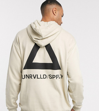 ASOS DESIGN Tall oversized hoodie in beige with triangle back print