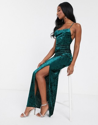 Club L London velvet square neck maxi dress with thigh split in green