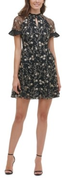 Kensie Floral-Embroidered Mesh Mini Dress