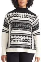 Chaps Plus Size Jacquard Mockneck Sweater