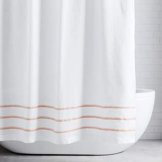 west elm Belgian Linen Embroidered Stripe Shower Curtain - Misty Rose