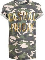 River Island Girls khaki camo metallic print T-shirt