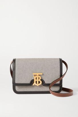 Burberry Small Leather-trimmed Canvas Shoulder Bag - Black