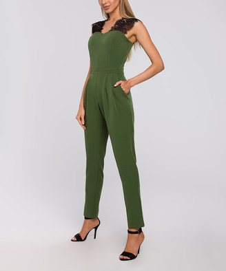 Green & Black Made Of Emotion Women's Jumpsuits green Lace-Trim Cap-Sleeve Jumpsuit - Women