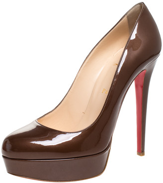 Christian Louboutin Bronze Patent Leather Bianca Platform Pumps Size 40