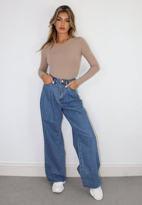 Missguided Blue Pleat Detail Wide Leg Jeans