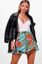 boohoo Hazel Double Layer Safari Jungle Print Shorts