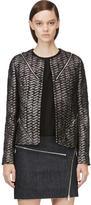 Jay Ahr Black and Metallic Silver Tweed Zip Blazer