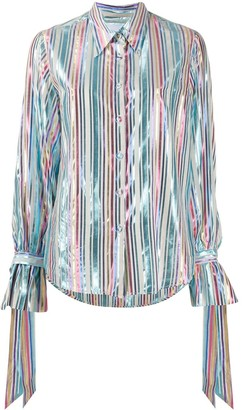 Black Coral Metallic Stripe-Print Shirt