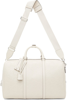 Gucci White GG Embossed Duffle Bag