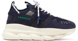 Versace Chain Reaction Mesh And Suede Trainers - Mens - Navy