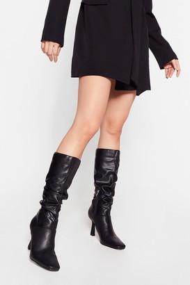 Nasty Gal Womens Heelin' the Love Slouchy Knee High Boots - Black - 5, Black