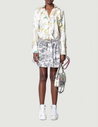 Zadig & Voltaire Ruska contrasting-pattern silk mini dress