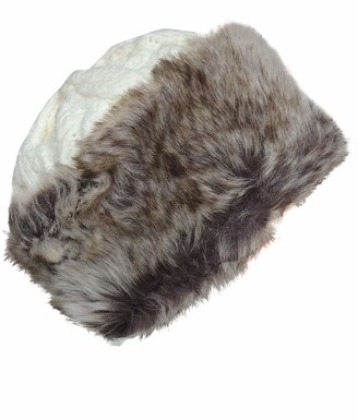 Hotswing Womens Faux Fur Brim Winter Hat Sherpa Lined Chunky Cable Knit Extra Warm! - - One Size