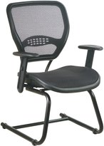 SPACE Seating 5565 Professional Air Grid Back Seat, Adjustable Arms & Lumbar Support Sled Base Visitors Chair, Dark Grey