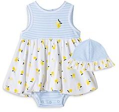 Little Me Girls' Lemon Popover Dress & Hat Set - Baby