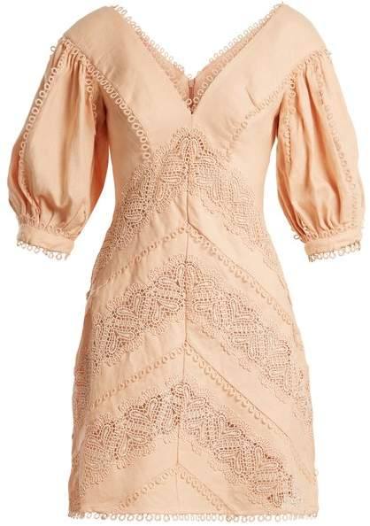 Zimmermann Painted Heart Lace Panel Linen Dress - Womens - Pink