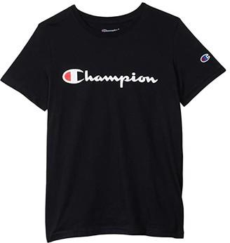 Champion Kids Classic Script Short Sleeve Tee (Big Kids) (Black) Boy's Clothing