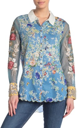 Aratta Here I Am Embroidered Floral Print Shirt
