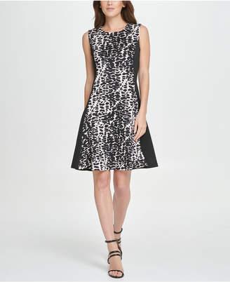 DKNY Colorblock Animal Print Fit & Flare Dress