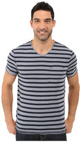 Calvin Klein Jeans Yarn Dye Stripe Short Sleeve V-Neck